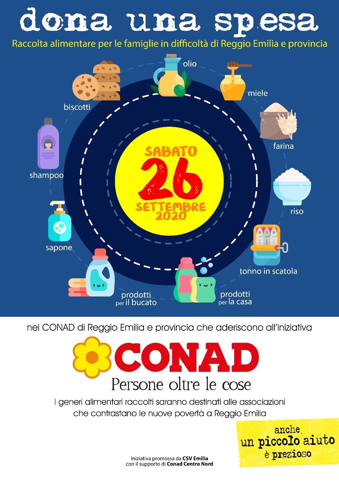 """""""Dona una spesa"""" con Conad il 26 settembre a Reggio Emilia"""